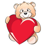 Teddy Bear - Valentines day card. Isolated on white editable vector image of a little bear with a heart on the occasion of Valentines Day Royalty Free Illustration