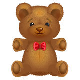 Teddy bear vector brown with a red bow. stock illustration