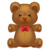 Teddy bear vector brown with a red bow. Royalty Free Stock Photo