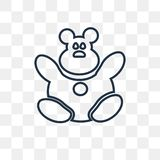 Teddy bear vector icon isolated on transparent background, linear Teddy bear transparency concept can be used web and mobile. Teddy bear vector outline icon royalty free illustration