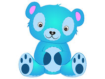 Teddy Bear Vector Illustration blu sveglio Immagine Stock