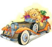 Teddy bear and vintage car. watercolor illustration vector illustration