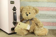 Teddy bear with vintage suitcase and blank tag Royalty Free Stock Photo