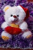 Teddy bear waiting for Santa. Christmas mood. Postcard stock image