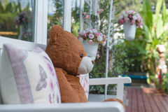 Teddy bear waiting Royalty Free Stock Photography