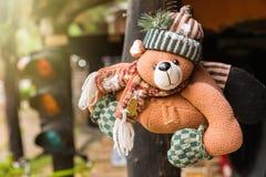 Teddy Bear With Warm Light sveglio Fotografia Stock