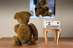 Teddy Bear watching his photos with a mini projector. The transfer of the image is wireless Royalty Free Stock Image