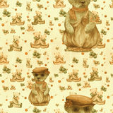 Teddy bear -watercolor drawing. Decorative composition. Seamless pattern.Abstract background image. Use printed materials, signs,. Items, websites, maps Stock Photos