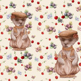 Teddy bear -watercolor drawing. Decorative composition. Seamless pattern.Abstract background image. Use printed materials, signs,. Items, websites, maps Royalty Free Stock Image