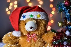 Teddy Bear wear hat in Christmas and Multi colored balls on christmas tree. With Blur light Background royalty free stock images