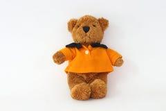 Teddy bear wearing an orange. Royalty Free Stock Photos
