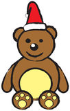 Teddy bear wearing Santa hat. Brown teddy bear wearing Santa Claus's hat. Editable, and well layered  .ai10 file Stock Photo