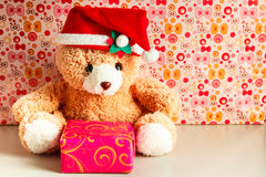 Teddy bear wearing a santa hat. Royalty Free Stock Photos