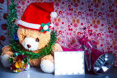 Teddy bear wearing a santa hat. Royalty Free Stock Photography
