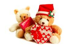 Teddy bear wearing a santa hat. Stock Photos