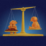 Teddy bear weighing friend Royalty Free Stock Photo
