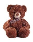 Teddy bear on white. Brown bear sitting on white background Royalty Free Stock Photos