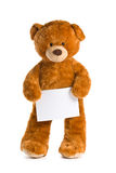 Teddy bear with white board Stock Photo