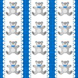 Teddy bear on white doily on blue seamless pattern Stock Images