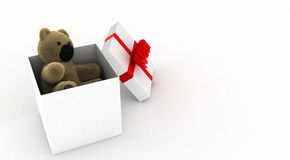 Teddy bear in a white gift box Royalty Free Stock Photography
