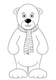 Teddy-bear white in a scarf, contours royalty free illustration