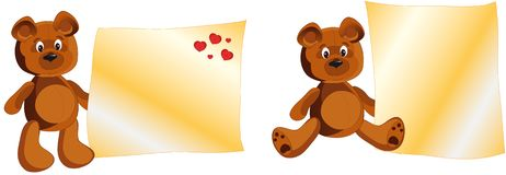 Teddy Bear whith notes Stock Photo