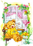 Teddy bear on the window. watercolor illustration Stock Images