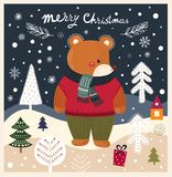 Teddy bear is in winter forest Stock Photos