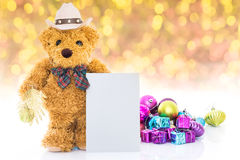 Teddy Bear With Gifts And Greeting Card Royalty Free Stock Images