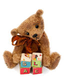 Teddy Bear With Toy Blocks Royalty Free Stock Image