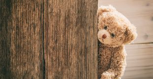 Teddy bear on wooden background. Copy space Royalty Free Stock Photos