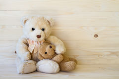 Teddy bear on wooden floor Royalty Free Stock Images