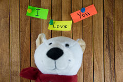 Teddy Bear and the words I love you in the background Royalty Free Stock Image