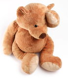 Teddy bear in a worry. Isolated over white Stock Images
