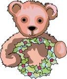 TEDDY BEAR WITH WREATH Royalty Free Stock Photos