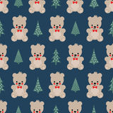 Teddy Bear with Xmas Trees seamless pattern on blue background. Stock Photos