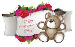 Teddy Bear y flores Fotografía de archivo
