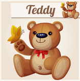 Teddy bear and yellow butterfly. Cartoon vector illustration Royalty Free Stock Image