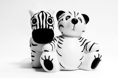 Teddy bear and zebra Stock Photography