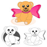 Teddy bears. Little teddy bear with pink bow. And teddy bears in black and white version for coloring book pages for kids Royalty Free Stock Images