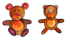 Teddy bears. A set of illustration (hand painted watercolor) of two teddy bears Royalty Free Stock Photography