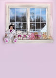 Teddy bears. Momma bear with her seven baby bears sitting on a window Stock Photos