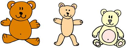 Teddy bears. Three teddy bears on white background. illustaration Royalty Free Stock Images