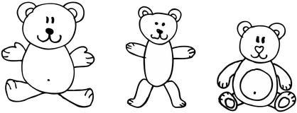 Teddy bears. Three teddy bears on white background. illustaration Royalty Free Stock Image
