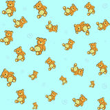 Teddy bears. Cartoon vector illustration of  retro funky background with Cute little teddy bears Stock Photos