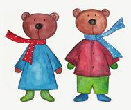 Teddy bears. Artwork, ink and watercolors on paper Royalty Free Stock Photos
