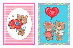 Teddy Bears avec le bouquet fleurit le ballon de bande dessinée illustration de vecteur