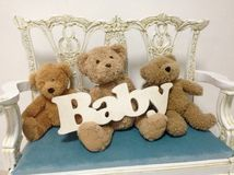 Teddy bears  and baby Royalty Free Stock Photo