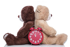 Teddy bears back to back: time to change - problems in partnersh Royalty Free Stock Image