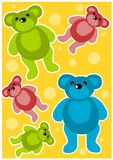 Teddy bears background. Beauty colorful background with teddy bears vector illustration